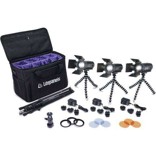 Litepanels LED Light Kit Litepanels Caliber LED Fresnel 3-Light Kit with Soft Case
