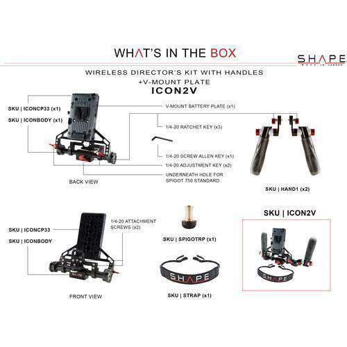 SHAPE Director's Monitor Brackets SHAPE Wireless Director's Kit with V-Mount Battery Plate