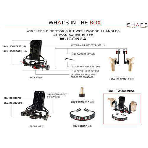 SHAPE Director's Monitor Brackets SHAPE Wireless Director's Kit with Wooden Handles with Gold Mount Battery Plate