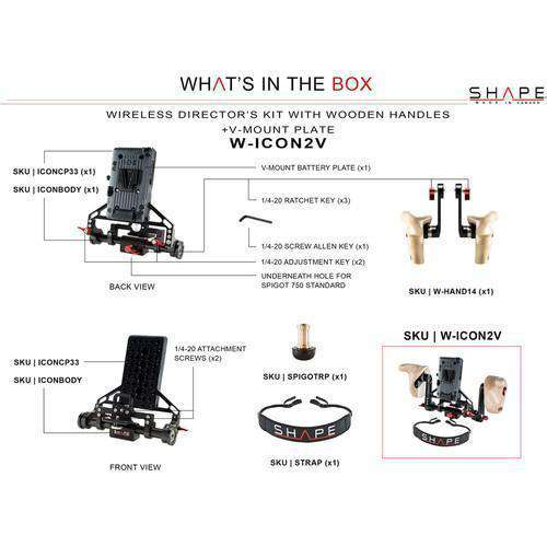SHAPE Director's Monitor Brackets SHAPE Wireless Director's Kit with Wooden Handles with V-Mount Battery Plate