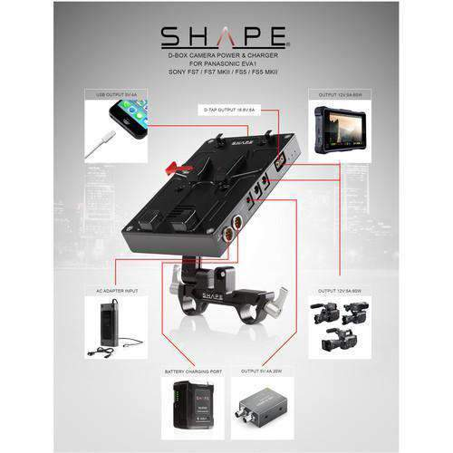 SHAPE SHAPE KBFS5 SHAPE D-Box Camera Power & Charger Kit with 98Wh Battery for EVA1/FS7/FS7M2/FS5/FS5M2