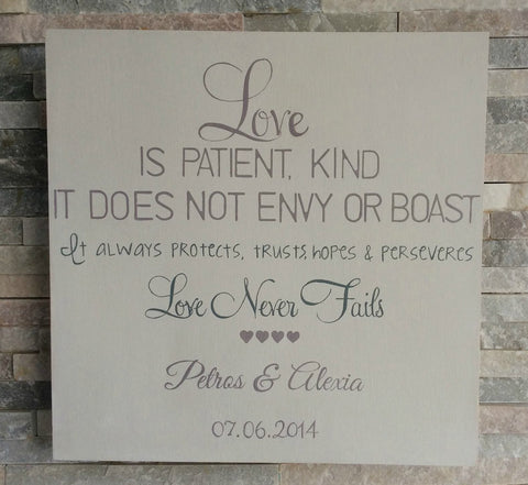 Love is patient, kind it does not envy or boast