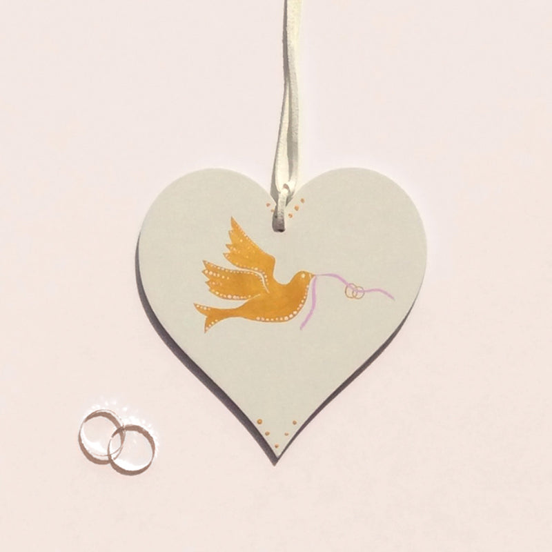 gold dove ring bearer wedding gift