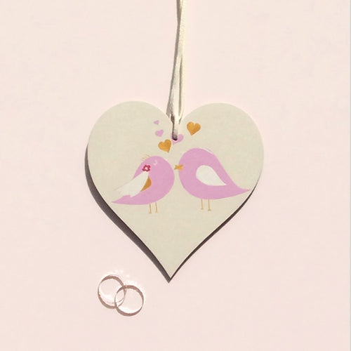 love birds wooden heart wedding gift