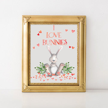 buy I Love Bunnies | Nursert Wall Art Print for $14.95