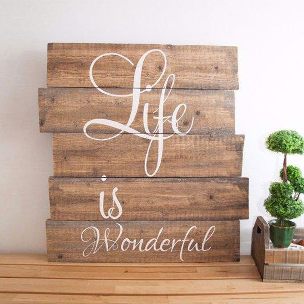 Wood Word Wall Art buy life is wonderful | reclaimed wood | word wall art at word