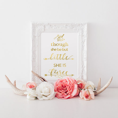 buy And Though She Be But Little She Is Fierce | William Shakespeare Quote | Nursery Wall Art Print for $14.95