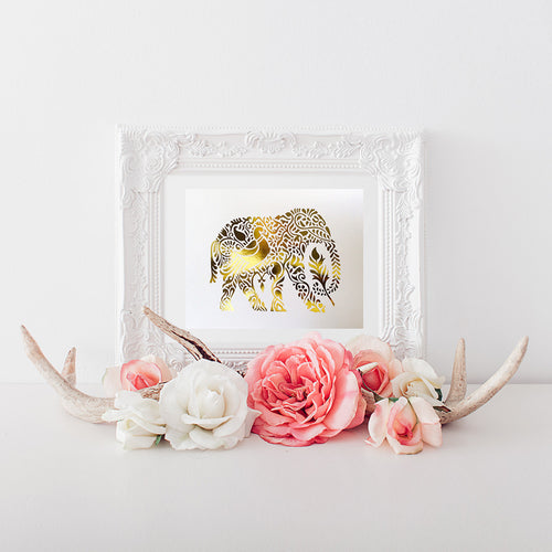 buy Elephant Gold Foil Art Print | Handmade Gold Foil Print | Elephant Lover for $14.95