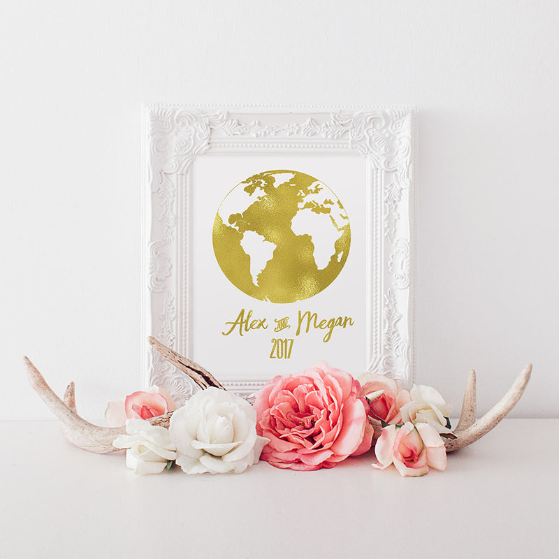 buy Gold Foil World Map Date and Names Print for $14.95