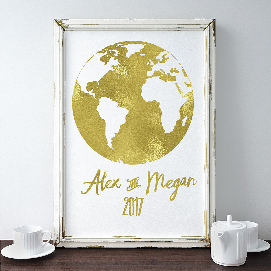Buy Gold Foil World Map Date and Names Print at Word Signs Decor for ...