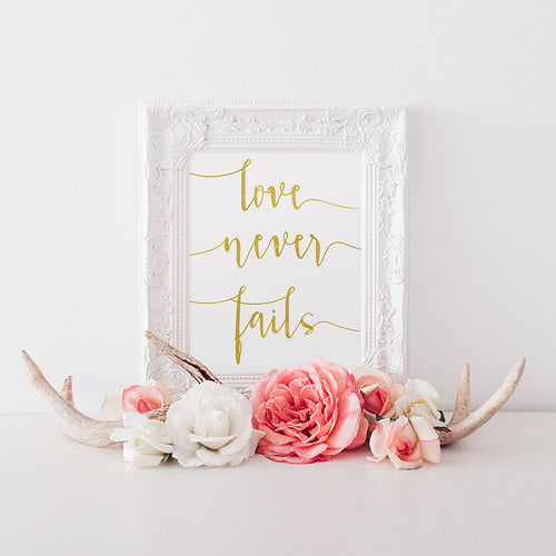 buy Love Never Fails | Gold Foil Print | Love Quote | Wall Art Print for $14.95