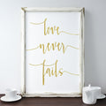 Gold foil wall art print love never fails