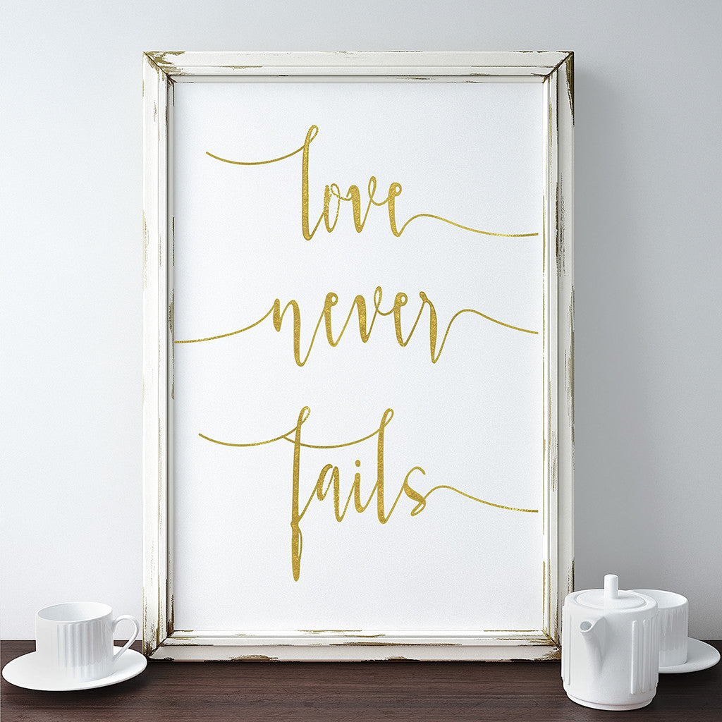 Buy Love Never Fails Gold Foil Print Love Quote Wall Art Print
