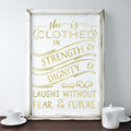 buy Gold Foil Wall Art Print 'She is Clothed in Strength and Dignity' Proverbs 31: 25-27 for $14.95