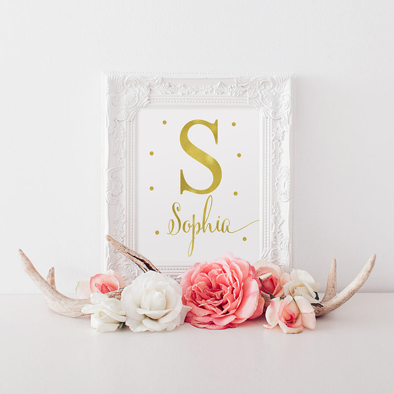 gold foil girls name nursery art
