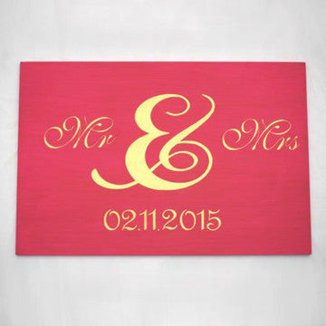 Magenta and Gold Mr & Mrs wood Word Art Sign