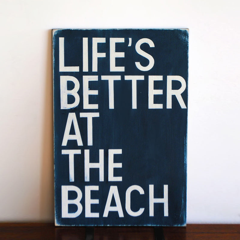 buy Life's Better At The Beach Hand-Painted Wood Sign | Beach Sign for $40.00