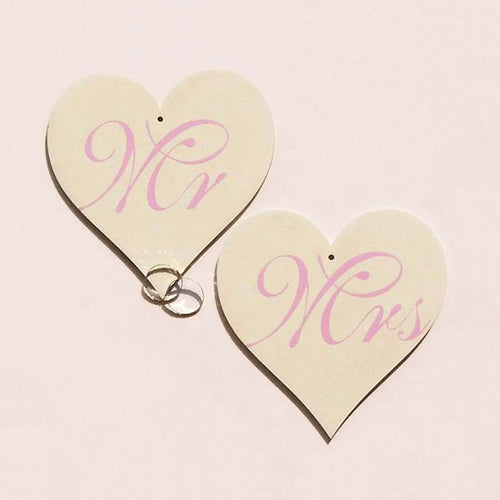 buy Beautiful Wedding Favor | Hand-Painted Birch Wood Hearts Mr & Mrs Off White Lilac Text for $24.00
