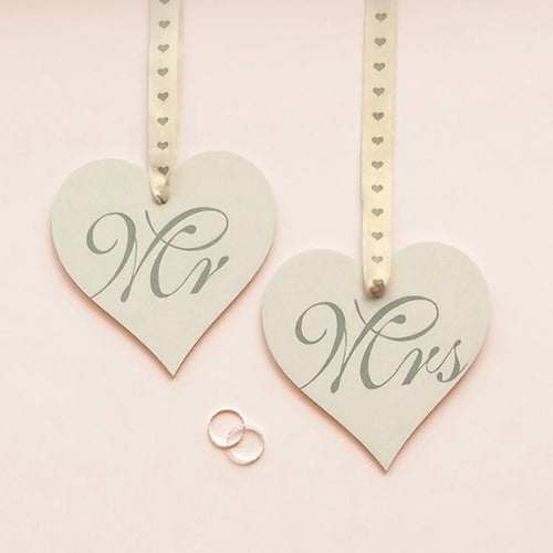 buy Wedding Favor | Wedding Gift | Hand Painted Birch Wood Mr & Mrs Hearts for $20.00