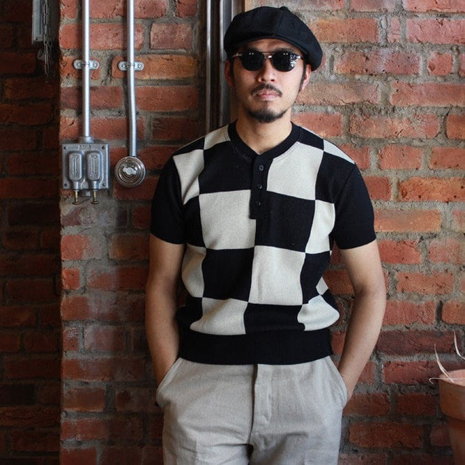 May club -【Trophy Clothing】CHECKER SUMMER HENLEY S/S KNIT