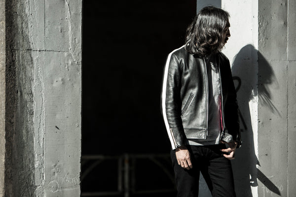 AD-01SS SHEEPSKIN CENTER ZIP JACKET SINGLE STRIPE - BLACK(茶芯)