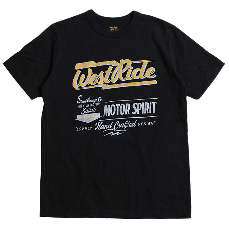 "May club -【WESTRIDE】""MOTOR SPIRIT"" TEE - BLACK"