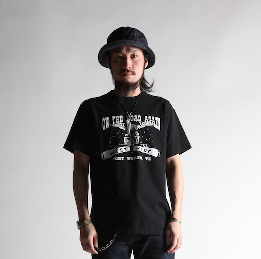 "May club -【WESTRIDE】""ON THE ROAD AGAIN"" TEE - BLACK"
