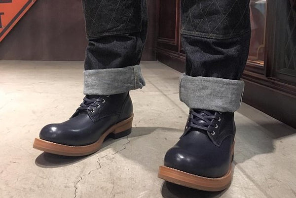 May club -【Addict Clothes】AD-S-02 STEERHIDE LACE-UP BOOTS - DARK BLUE