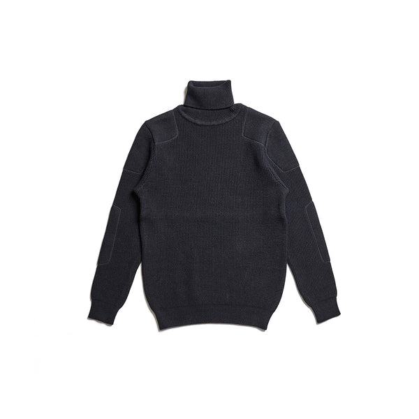 ACV-KN02 PADDED WAFFLE COTTON TURTLE KNIT - BLACK