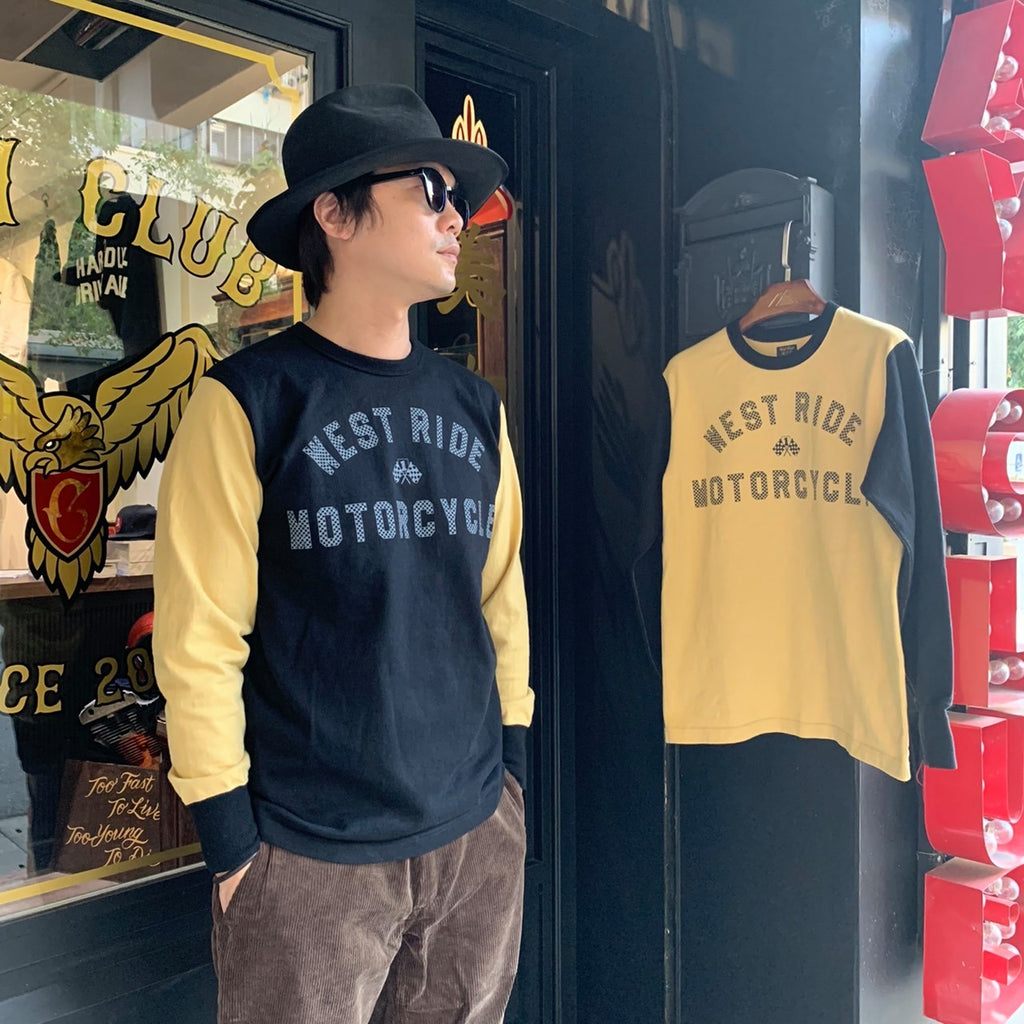 May club -【WESTRIDE】WEST RIDE MC LONG SLEEVES TEE - L.HNY/BLK