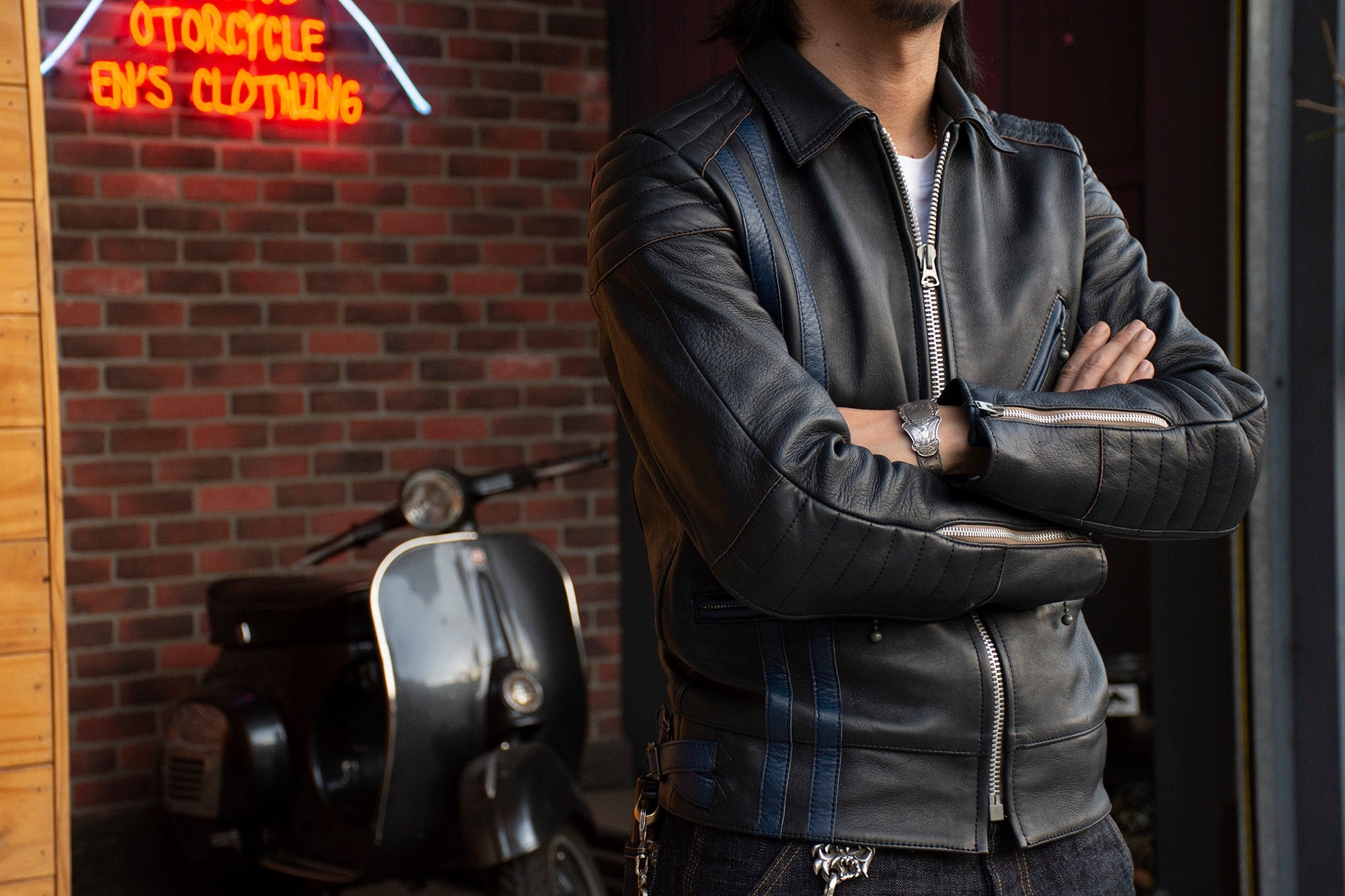 MAY CLUB x C.T.M x ADDICT CLOTHES - BLUE HIGHWAY LEATHER JACKET