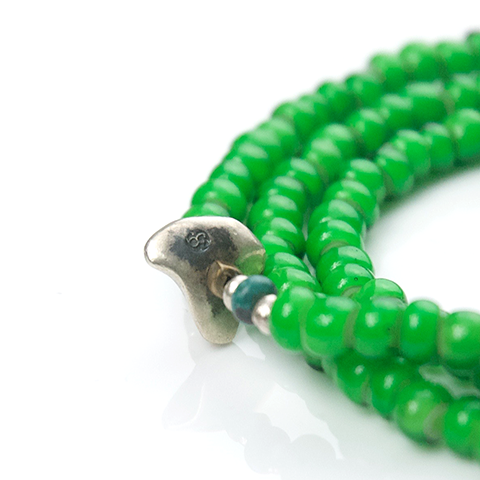 White Heart Beads Necklace & Bracelet(Green) - May club