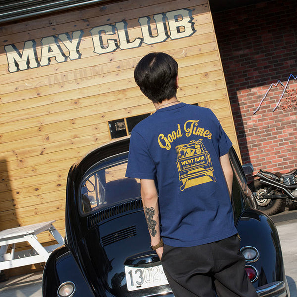 "May club -【WESTRIDE】""GOOD TIMES"" TEE - FADE NAVY"