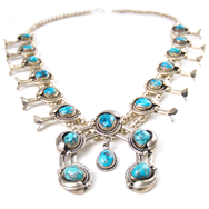 May club -【Navajo】Bisbee Turquoise Squash Blossom Necklace