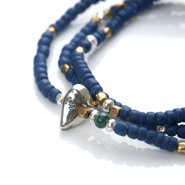 Indigo Dye Beads Necklace & Bracelet - May club