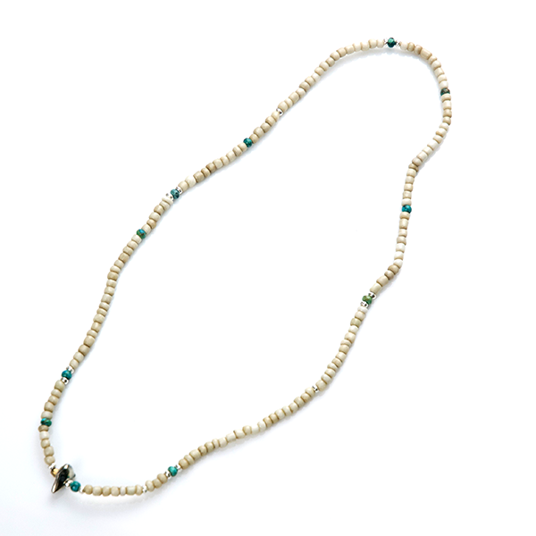 May club -【SunKu】Antique Beads Necklace & Bracelet White/Turquoise