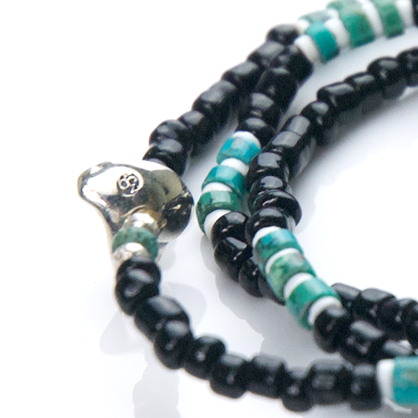 May club -【SunKu】Antique Beads Necklace & Bracelet Black/Turquoise