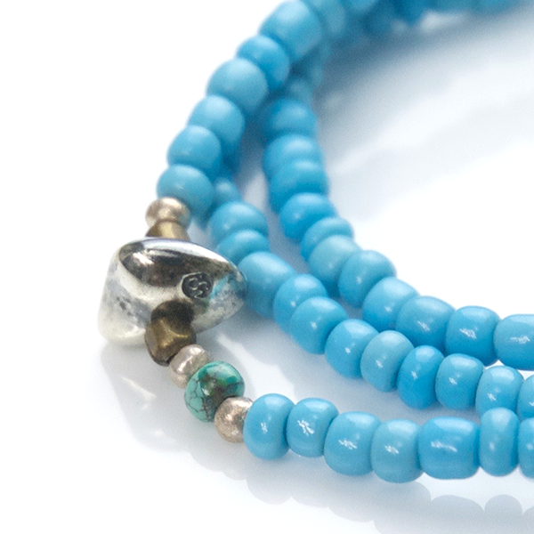 May club -【SunKu】Antique Beads Necklace & Bracelet Sax