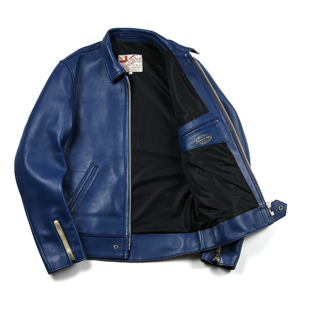 May club -【Addict Clothes】AD-01 Sheepskin Center Zip Jacket - Vintage Blue (茶芯)