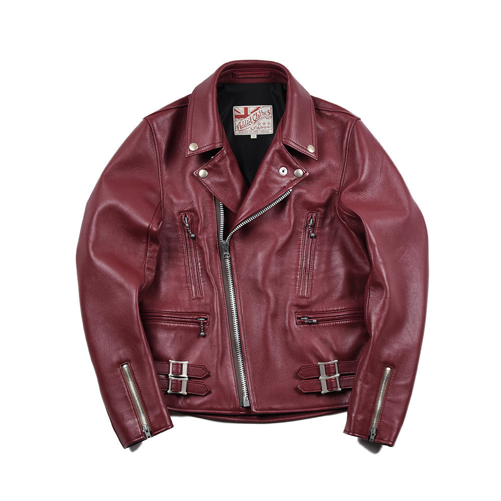 May club -【Addict Clothes】AD-02 Sheepskin Double Riders Jacket - Red Wine