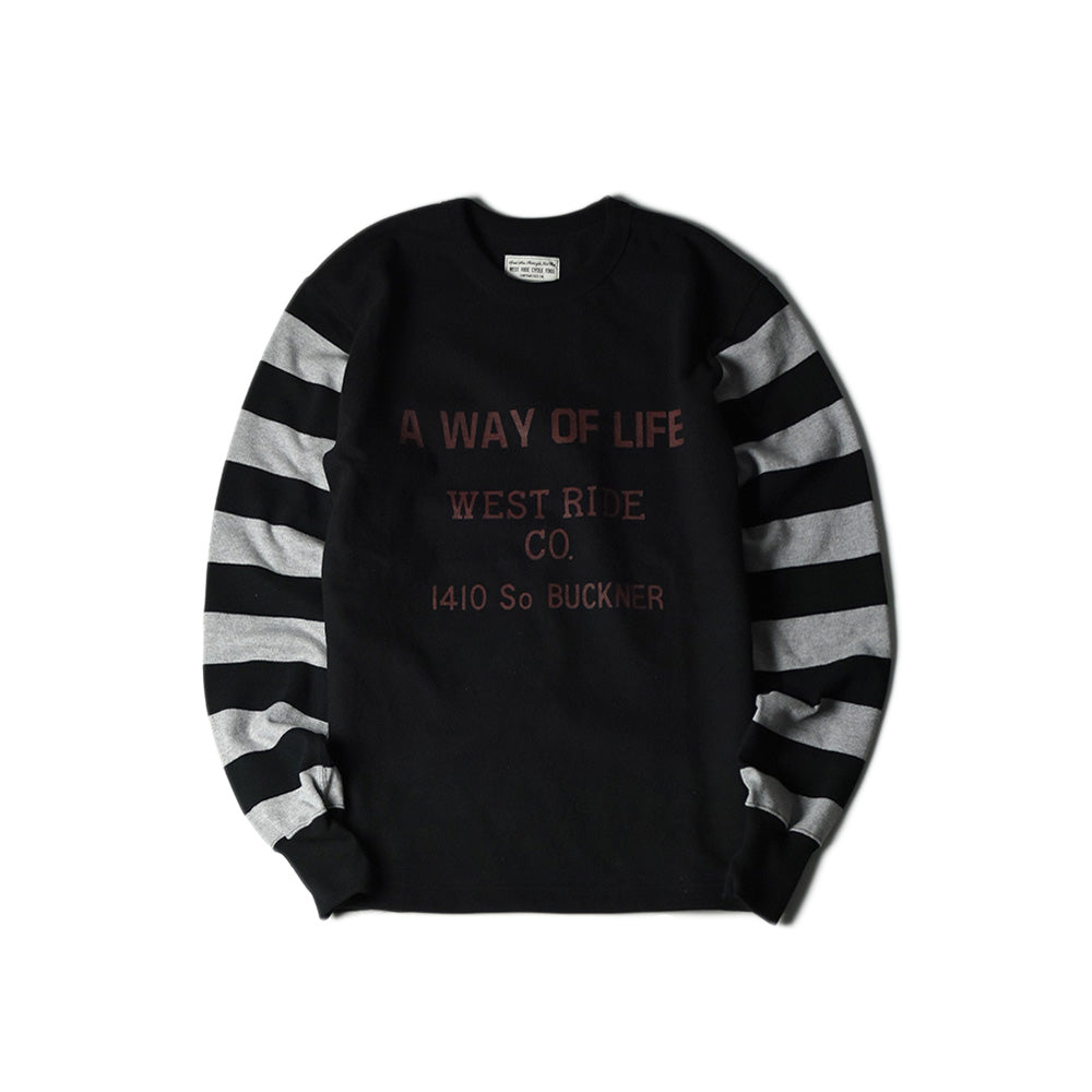 May club -【WESTRIDE】HEAVY BORDER SLEEVE TEE - A WAY OF LIFE (BLK/H.GRY)