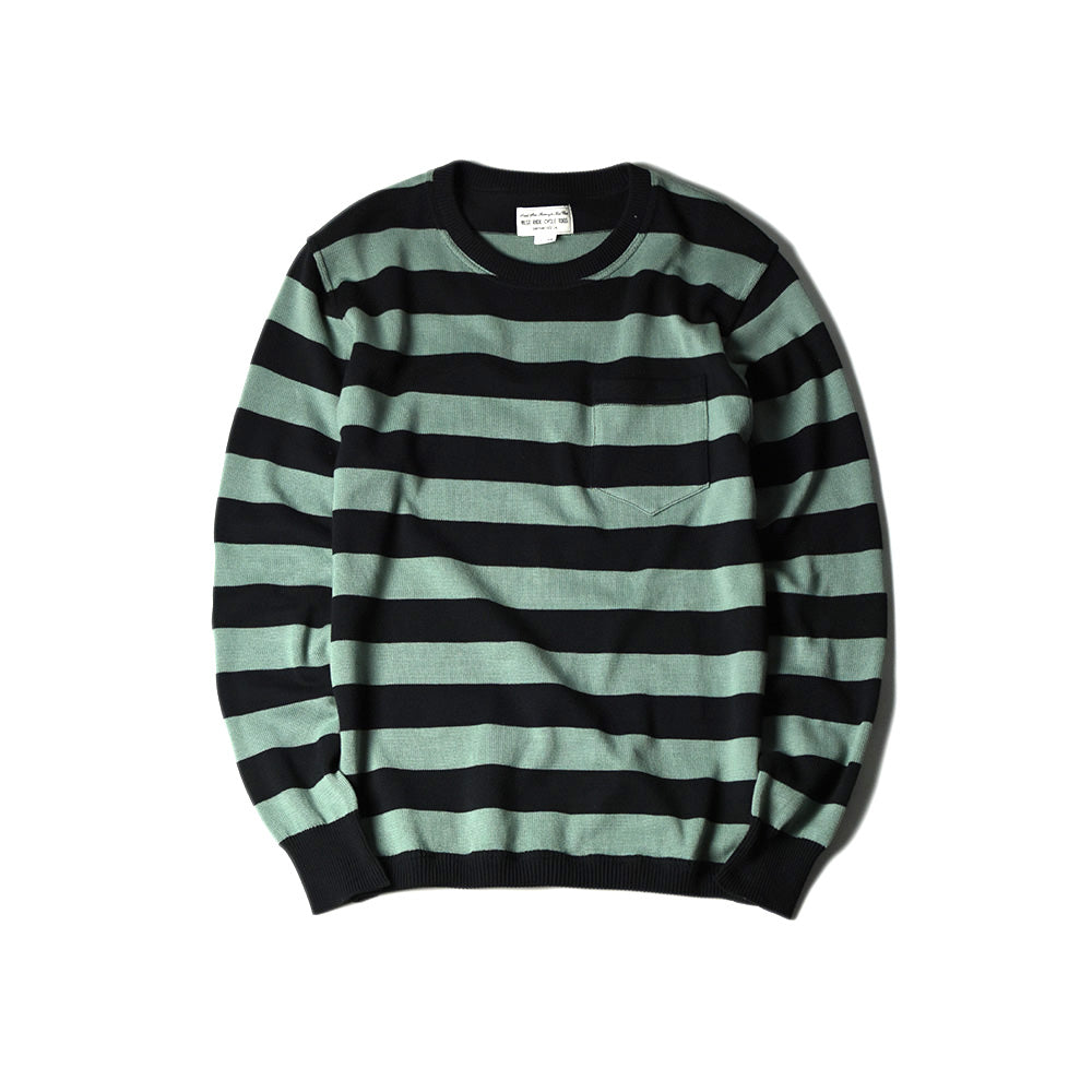 May club -【WESTRIDE】CLASSIC RIB BORDER L/S SWEATER - BLK/G.GRN