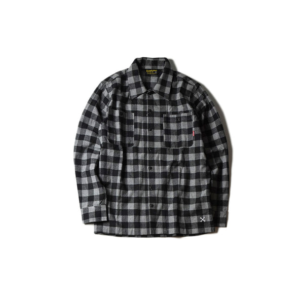 May club -【BLUCO】BUFFALO CHECK SHIRTS - GREY