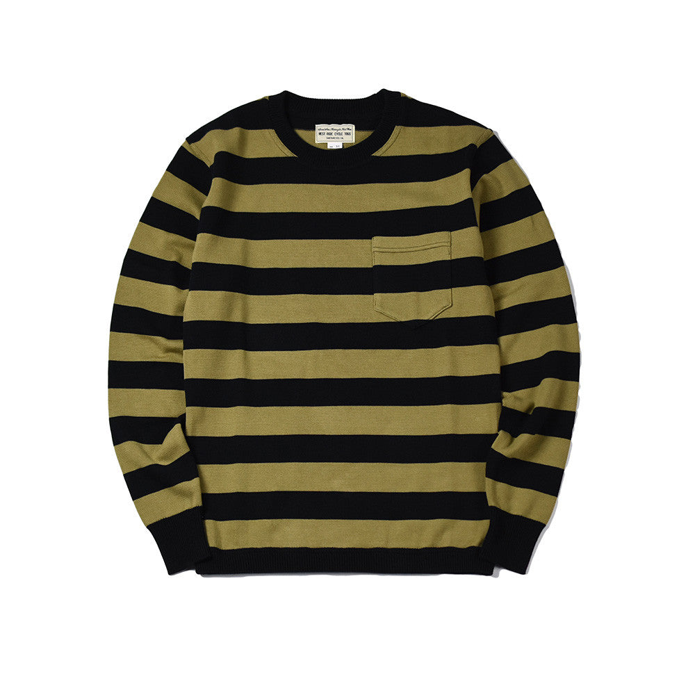 May club -【WESTRIDE】CLASSIC RIB BORDER L/S SWEATER - BLK/OLV
