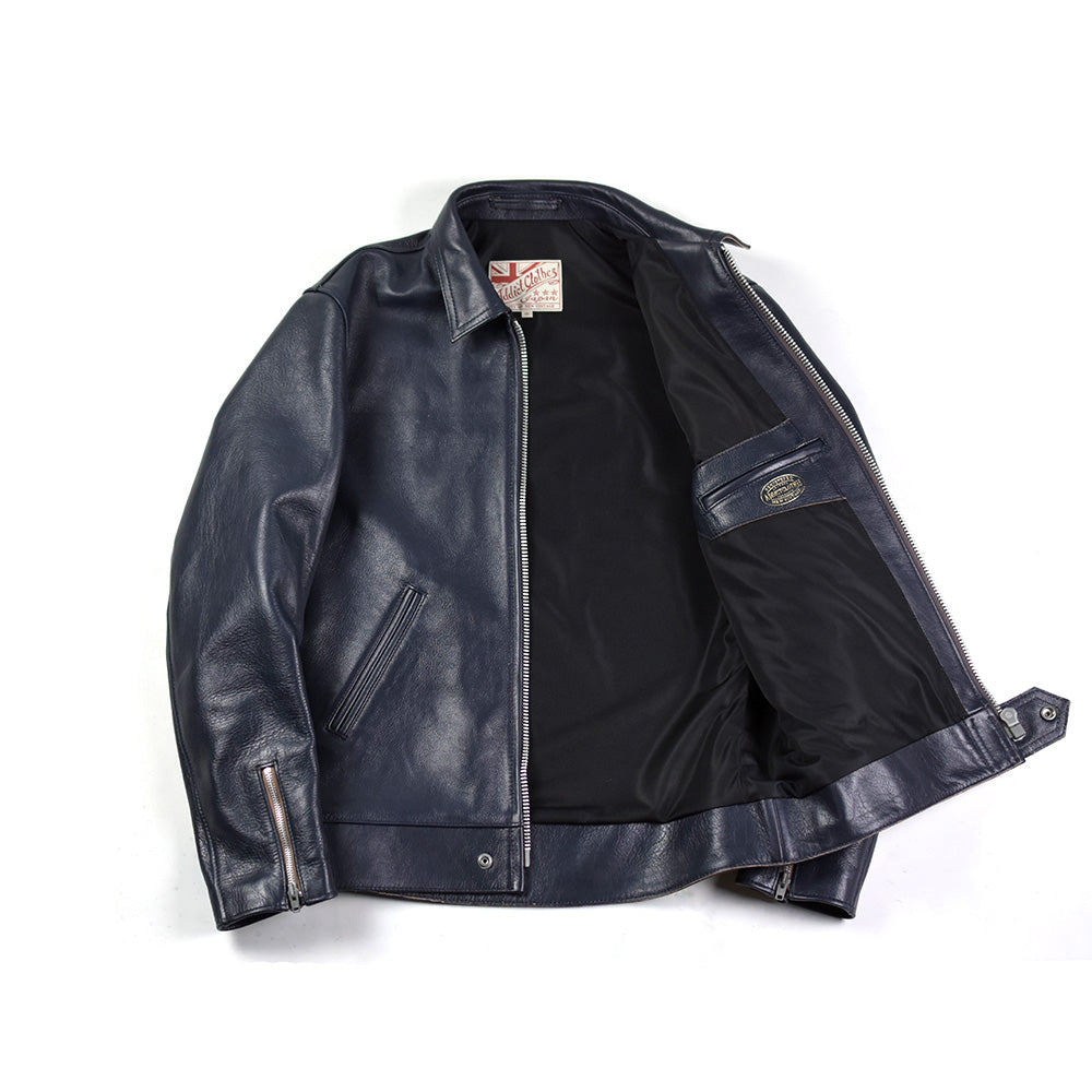 May club -【Addict Clothes】AD-01 KIP LEATHER CENTER ZIP JACKET - DARK BLUE