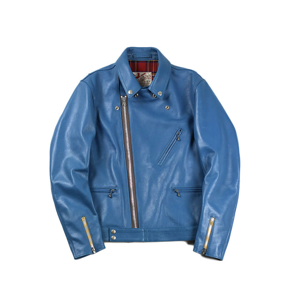 May club -【Addict Clothes】AD-03 Kip Leather British Asymmetry Jacket - Turquoise Blue