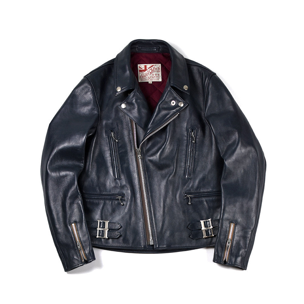 May club -【Addict Clothes】AD-02 Horsehide Double Riders Jacket - Dark Blue