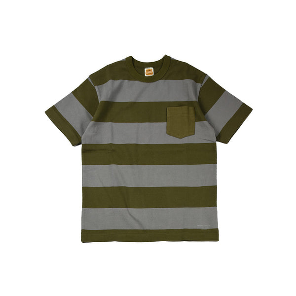 May club -【Trophy Clothing】WIDE BORDER TEE - OLIVE x GREY