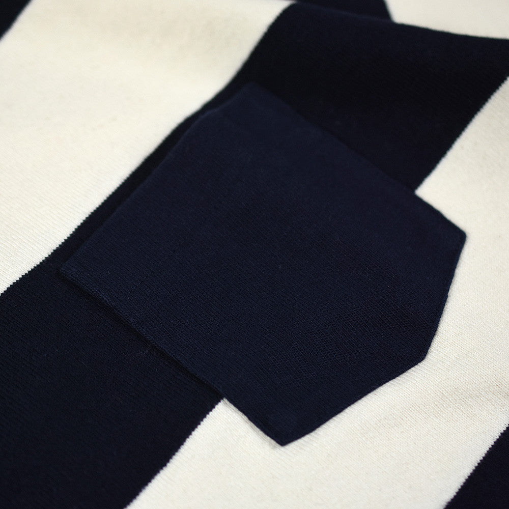 May club -【Trophy Clothing】WIDE BORDER TEE - CREAM x NAVY
