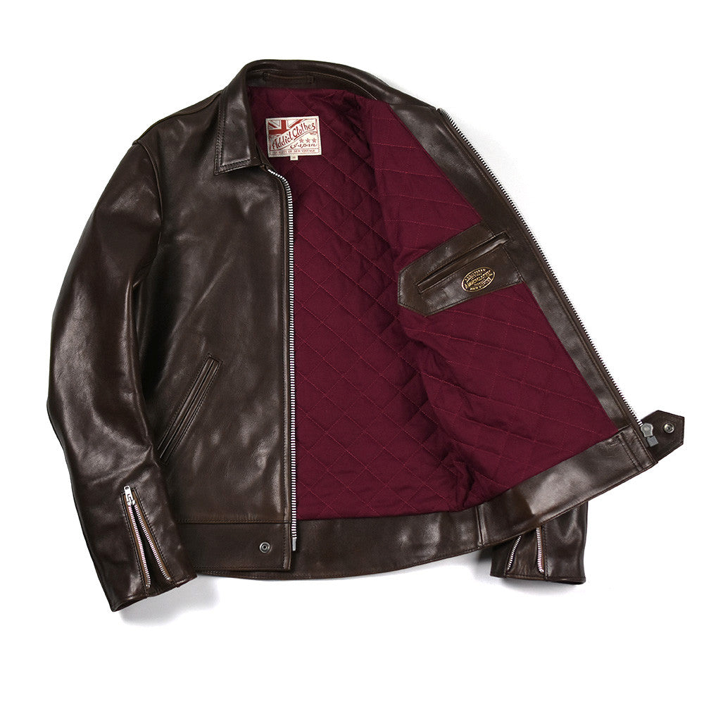 May club -【Addict Clothes】AD-01 Horsehide Center Zip Jacket - Dark Brown